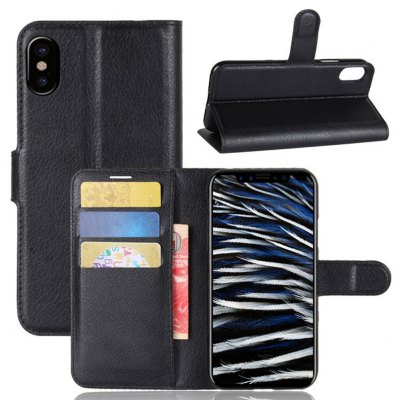 Solid Color Litchi Pattern Wallet PU Leather Case for iPhone X