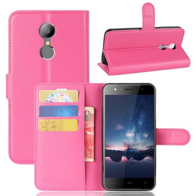 Solid Color Litchi Pattern Wallet Style Front Buckle Flip PU Leather Case with Card Slots for Hontom HT37