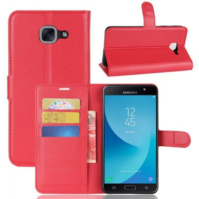Solid Color Litchi Pattern Wallet Style Front Buckle Flip PU Leather Case with Card Slots for Samsung Galaxy J7 Max SM -