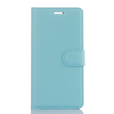 Solid Color Litchi Pattern Wallet Style Front Buckle Flip PU Leather Case with Card Slots for Huawei P9