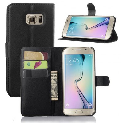 Solid Color Litchi Pattern Wallet Style Front Buckle Flip PU Leather Case with Card Slots for Samsung Galaxy S6 Edge Plus