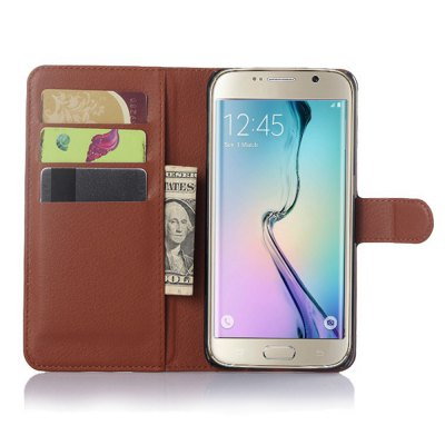 Solid Color Litchi Pattern Wallet Style Front Buckle Flip PU Leather Case with Card Slots for Samsung Galaxy S6 Edge Plus wkae forest series colorful paiting litchi texture premium pu leather horizontal flip stand wallet case cover with card slots for iphone 7 plus and 8 plus