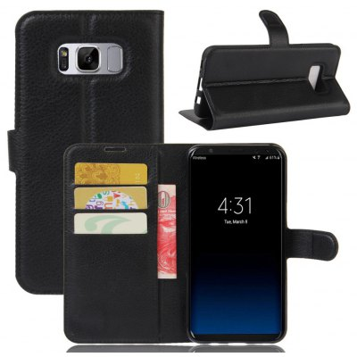Solid Color Litchi Pattern Wallet Style Front Buckle Flip PU Leather Case with Card Slots for Samsung Galaxy S8