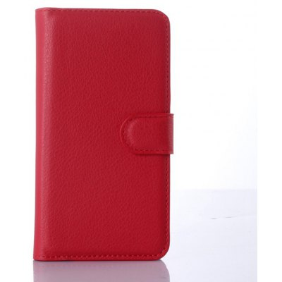 Solid Color Litchi Pattern Wallet Style Front Buckle Flip PU Leather Case with Card Slots for Nokia Lumia 640