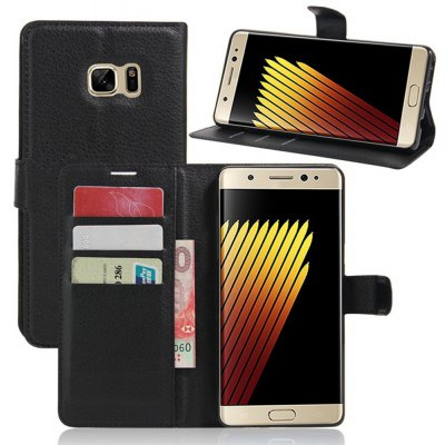 Solid Color Litchi Pattern Wallet Style Front Buckle Flip PU Leather Case with Card Slots for Samsung Galaxy Note FE