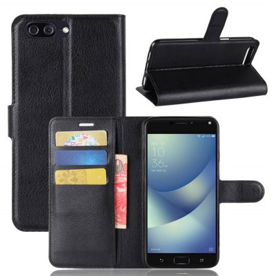 Solid Color Litchi Pattern Wallet Style Front Buckle Flip PU Leather Case with Card Slots for ASUS Zenfone 4 Max ZC554KL