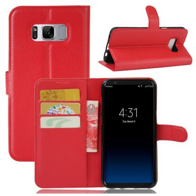 Solid Color Litchi Pattern Wallet Style Front Buckle Flip PU Leather Case with Card Slots for Samsung Galaxy S8 Plus