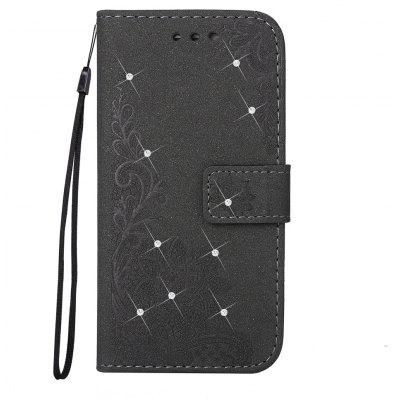 Bling-Bling Drill Textured Flower Pattern Front Buckle Flip PU Leather Case for iPhone SE