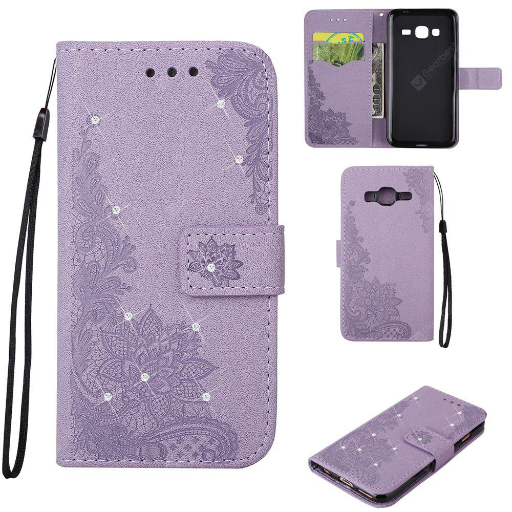 Bling-bling Drill Textured Flower Pattern Front Buckle Flip PU Leather Case for Samsung Galaxy J3 2015 Version