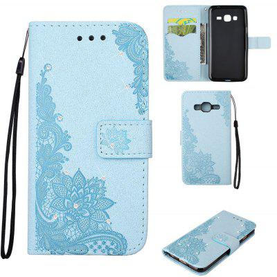 Bling-bling Drill Textured Flower Pattern Front Buckle Flip PU Leather Case for Samsung Galaxy J5 2015 Version