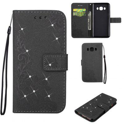 Bling-bling Drill Textured Flower Pattern Front Buckle Flip PU Leather Case for Samsung Galaxy J5 2016 Version