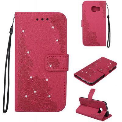 Bling-bling Drill Textured Flower Pattern Front Buckle Flip PU Leather Case for Samsung Galaxy S6