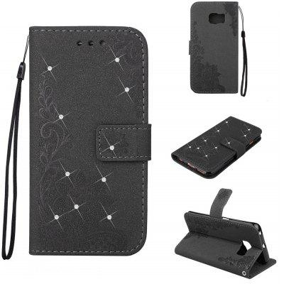Bling-bling Drill Textured Flower Pattern Front Buckle Flip PU Leather Case for Samsung Galaxy S7