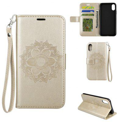 Buy GOLDEN Textured Flower Pattern Back Buckle Flip PU Leather Case for iPhone 8 for $5.45 in GearBest store