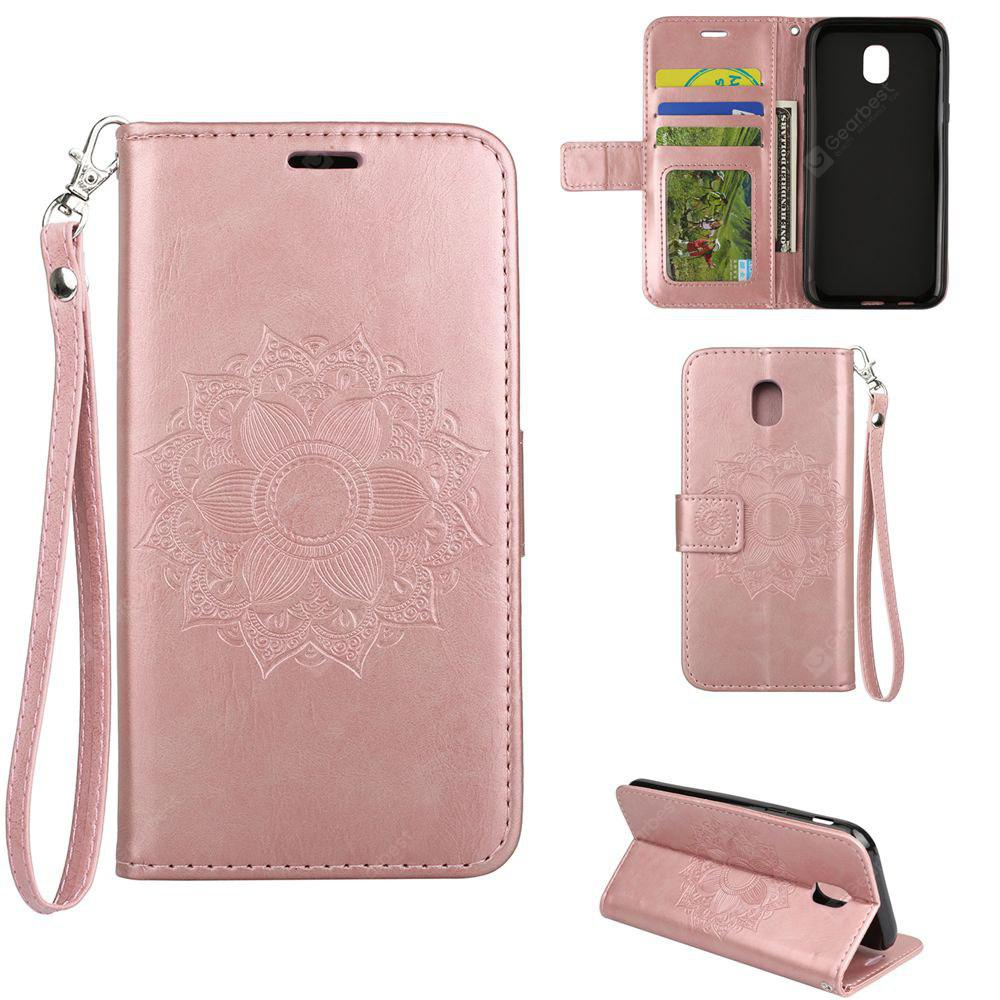 Textured Flower Pattern Back Buckle Flip PU Leather Case for Samsung Galaxy J3 2017 Europe Edition