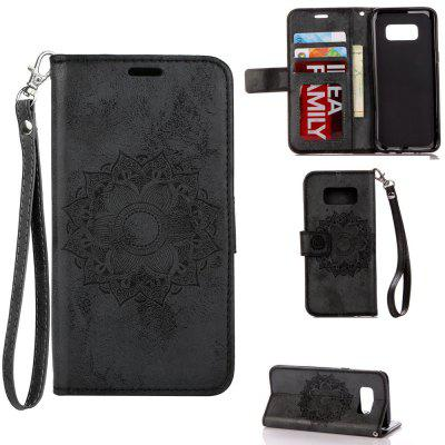 Textured Flower Pattern Back Buckle Flip PU Leather Case for Samsung Galaxy S8 Plus