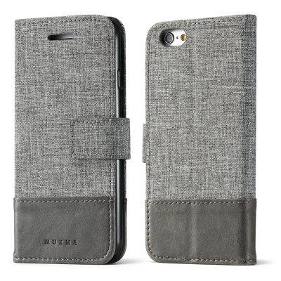 Durable Canvas Design Flip PU Leather Wallet Case for iPhone 6S