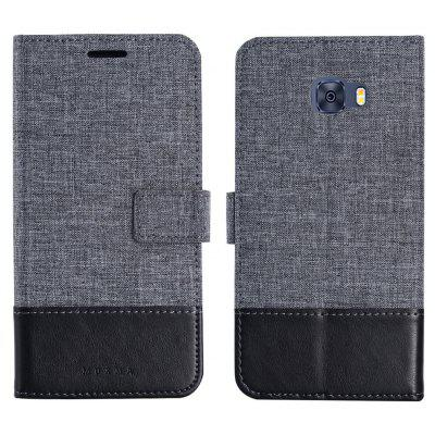 Durable Canvas Design Flip PU Leather Wallet Case for Samsung Galaxy C5 Pro