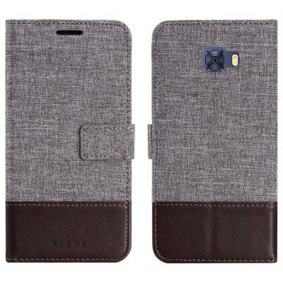 Durable Canvas Design Flip PU Leather Wallet Case for Samsung Galaxy C7 Pro