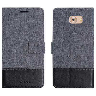 Durable Canvas Design Flip PU Leather Wallet Case for Samsung Galaxy C9 Pro