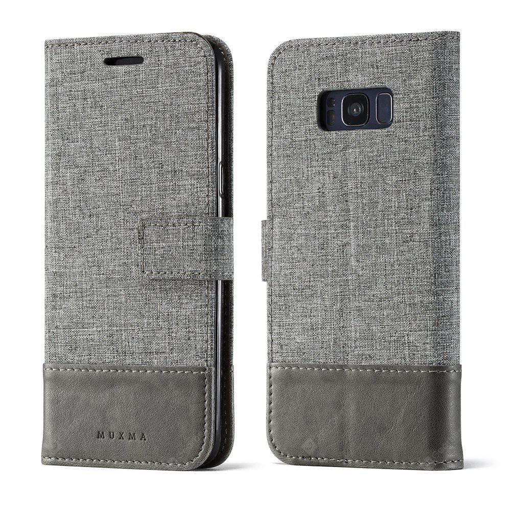Durable Canvas Design Flip PU Leather Wallet Case for Samsung Galaxy S8 Plus