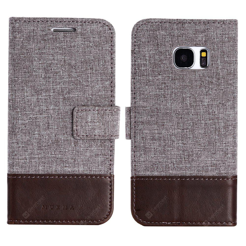 Durable Canvas Design Flip PU Leather Wallet Case for Samsung Galaxy S7