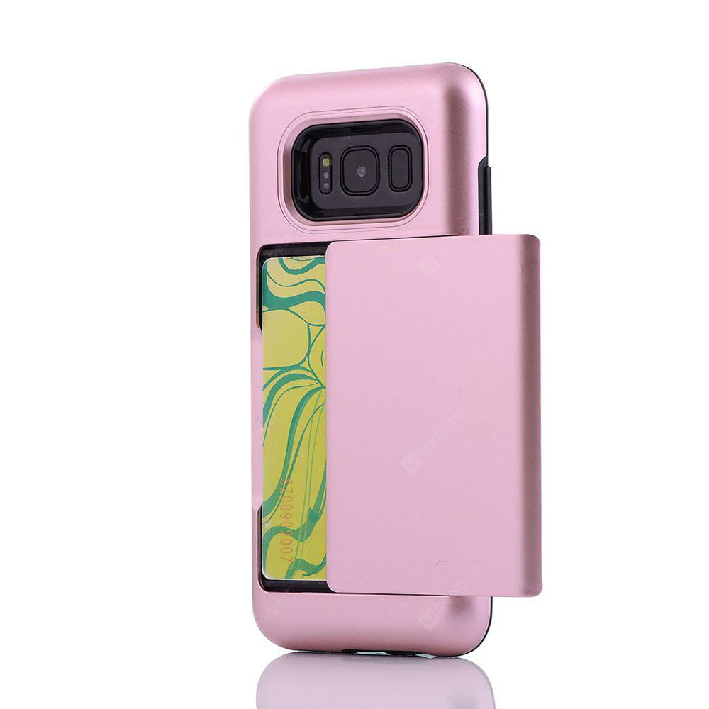Solid Color Shockproof Back Case with Card Slot for Samsung Galaxy S8 Plus
