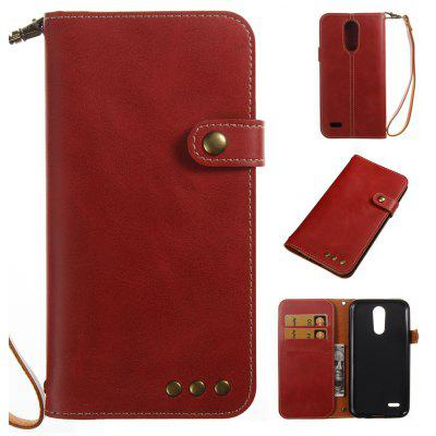 Buy RED Retro Style Crazy Horse Pattern Magnetic Buckle Flip PU Leather Wallet Case for LG K8 2017 Europe Edition for $7.13 in GearBest store