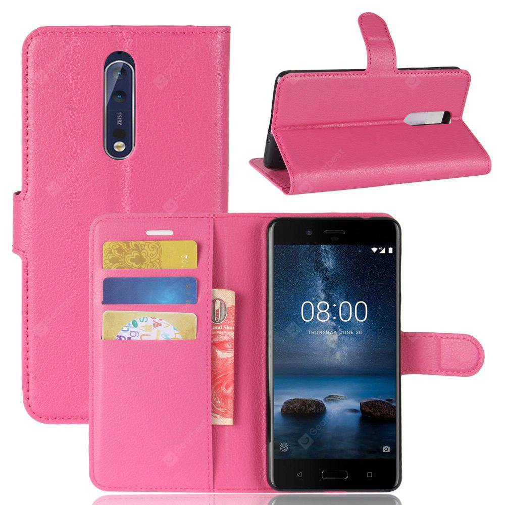 Solid Color Litchi Pattern Wallet Style Front Buckle Flip PU Leather Case with Card Slots for Nokia Lumia 8