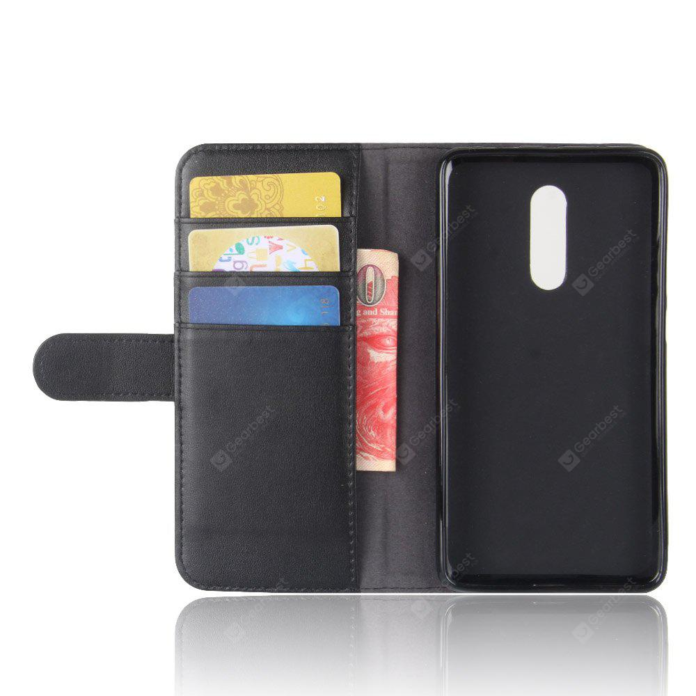 Solid Color Real Cow Leather Wallet Style Front Buckle Flip Case with Card Slots for Xiaomi Redmi Note 4