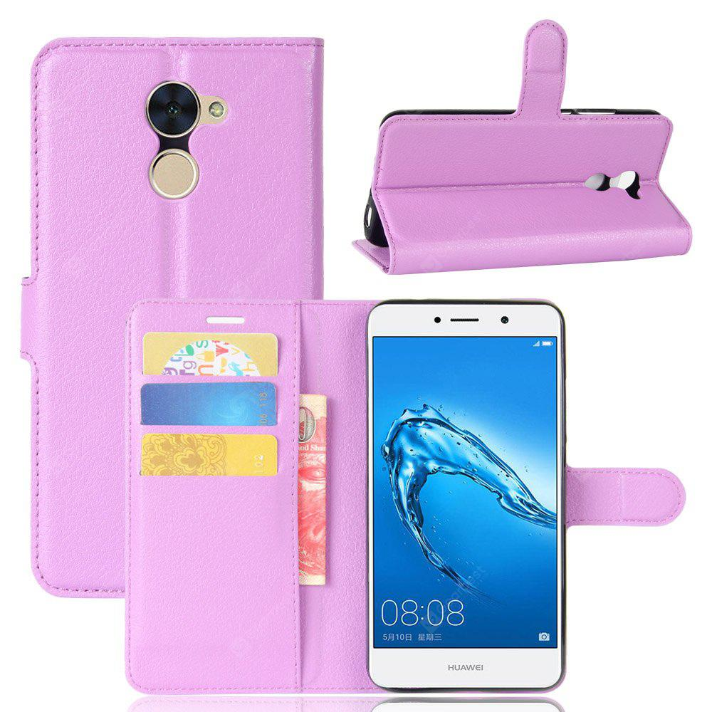 Solid Color Litchi Pattern Wallet Style Front Buckle Flip PU Leather Case with Card Slots for Huawei Y7 Prime