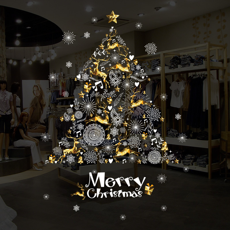 1 pc Christmas Wall Sticker Self-adhesive Wall Decals for Shopwindow Door