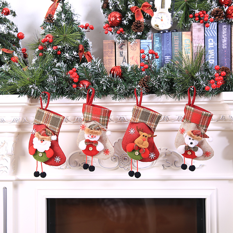 Zerowin Christmas Stockings Xmax Tree Hanging Xmas Decoration Fish//Bone Gift Candy Bag Xmas Fireplace Ornament happy kitty