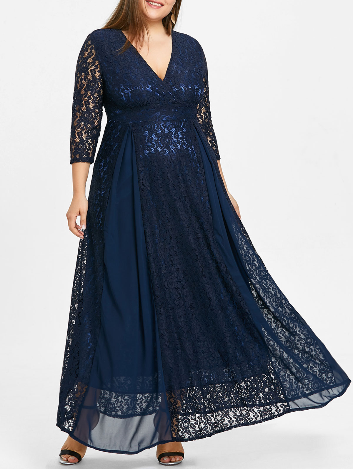 Robe Cache Coeur En Dentelle A Taille Empire Grande Taille Gearbest France