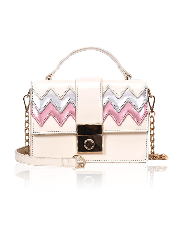 Patent Leather Wave Pattern Chain Crossbody Bag - WHITE