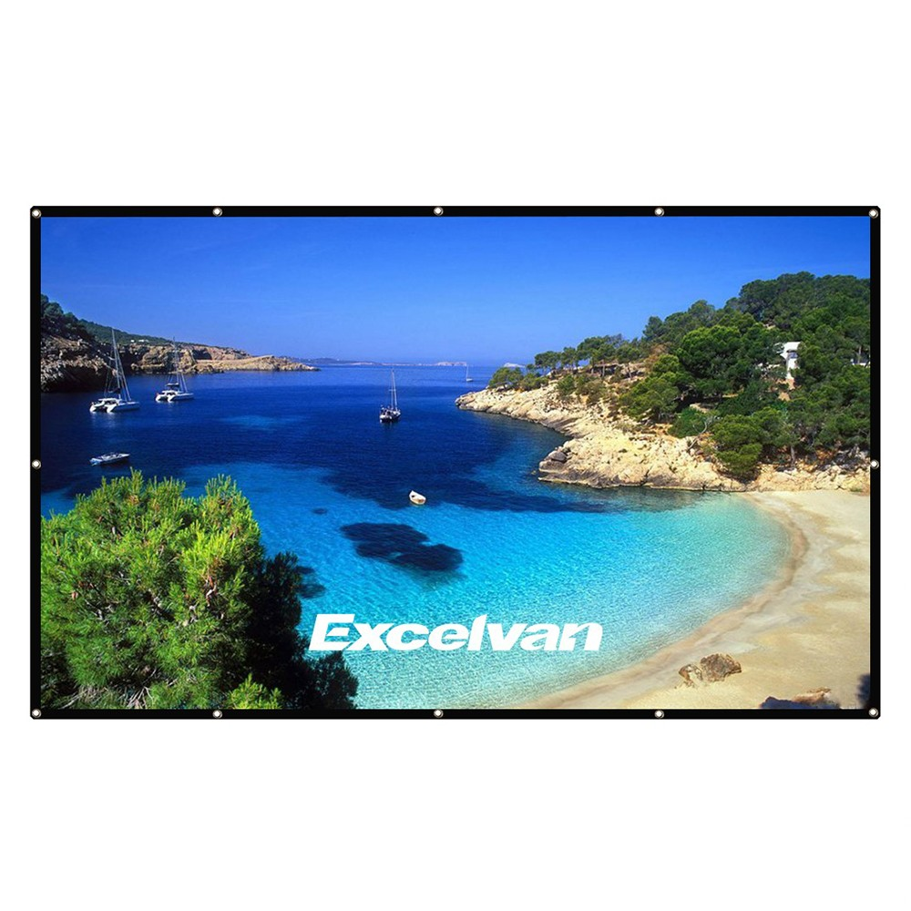 Excelvan 16:9 Collapsible White Portable Projector Cloth Screen With Hanging Hole For Home And Outdoor Use - Black White 120 inch