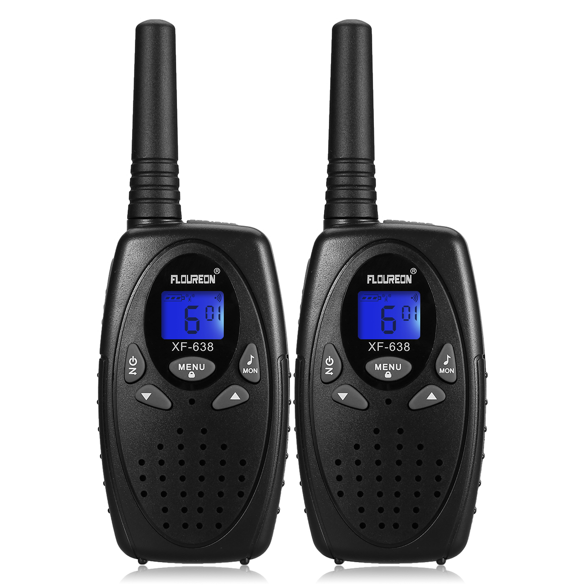 FLOUREON 22 Channel Twin Walkie Talkies FRS/GMRS 462-467MHZ 2-Way Radio 3KM Interphone Black  US  2只装 - BLACK