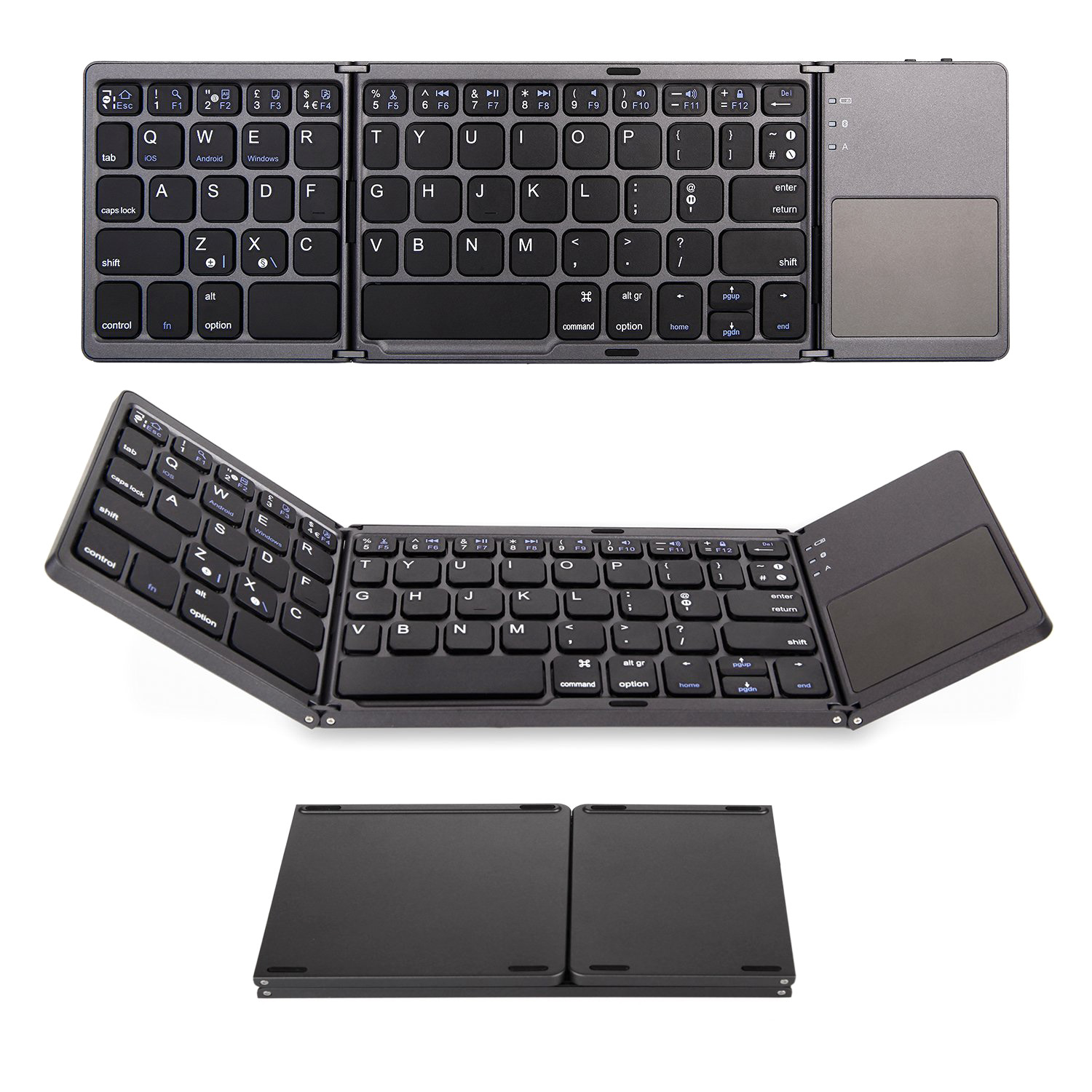 Gray Foldable Wireless Keyboard with Portable Pocket Format,for iOS,Android,Windows Tablets.K3 Foldable Bluetooth Keyboard,LAMZIEN,Tri-Foldable Ultra-Thin Portable Keyboard QWERTY