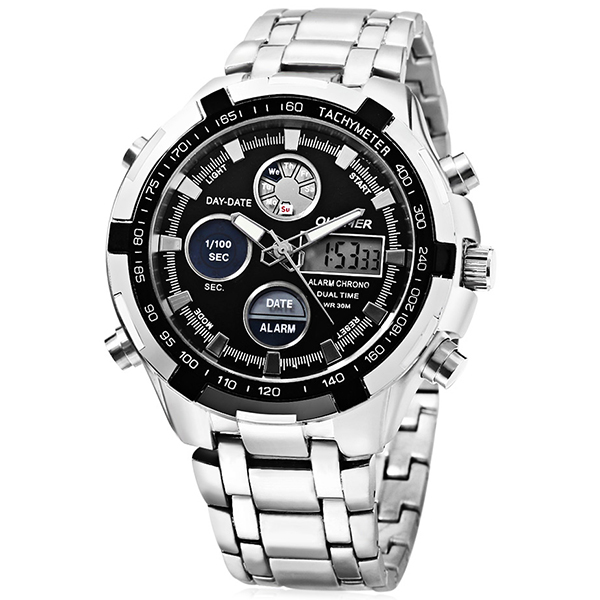 Quamer SD - 165 Dual Movt Male Watch Silver and Black Men's Watches Sale, Price & Reviews | Gearbest