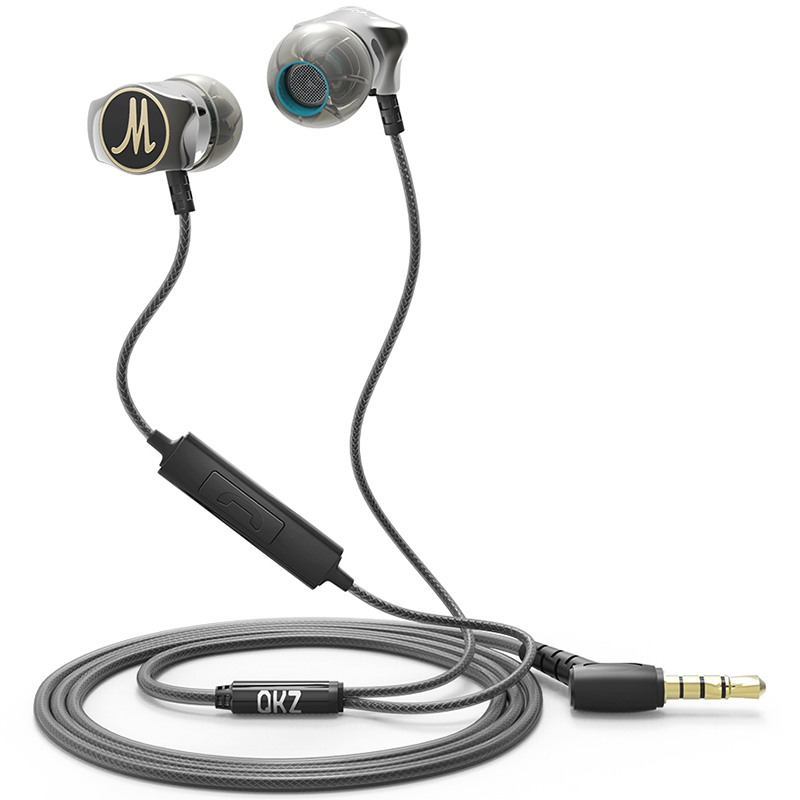QKZ DM7 3.5mm Aluminum Alloy in Ear Wired Earphone – Black with Mic