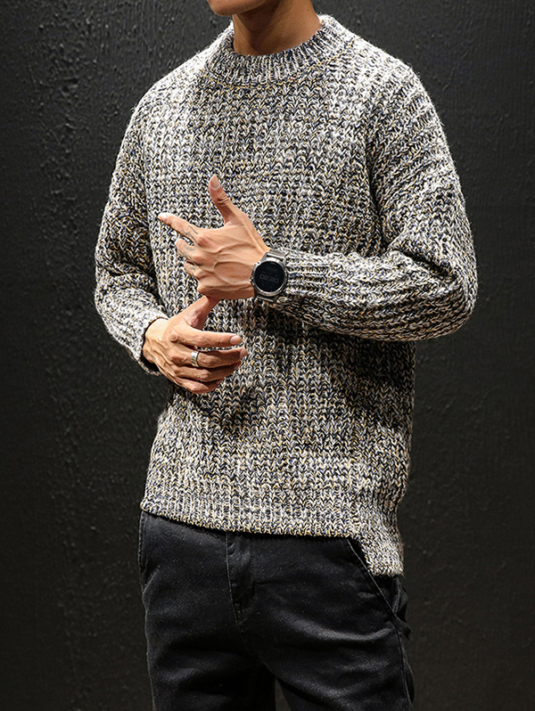 Autumn And Winter Sweater Men Thin Round Neck Pullover Knit Bottoming Shirt
