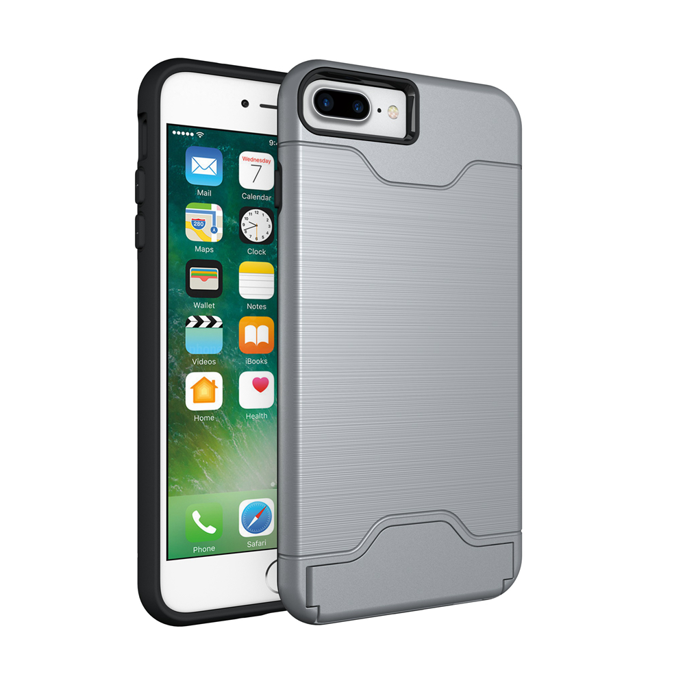 Shockproof Dual Layer Card Slot Holder Phone Case Cover With
