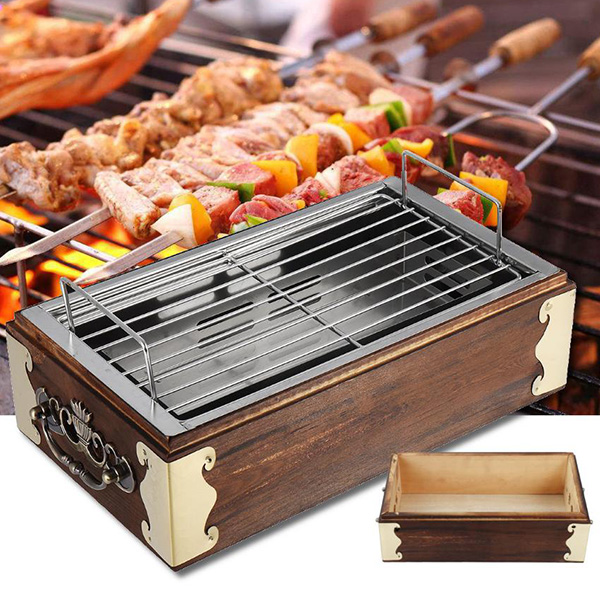 Portable Stainless Steel Wood Bbq Grill Sale Price Reviews Gearbest