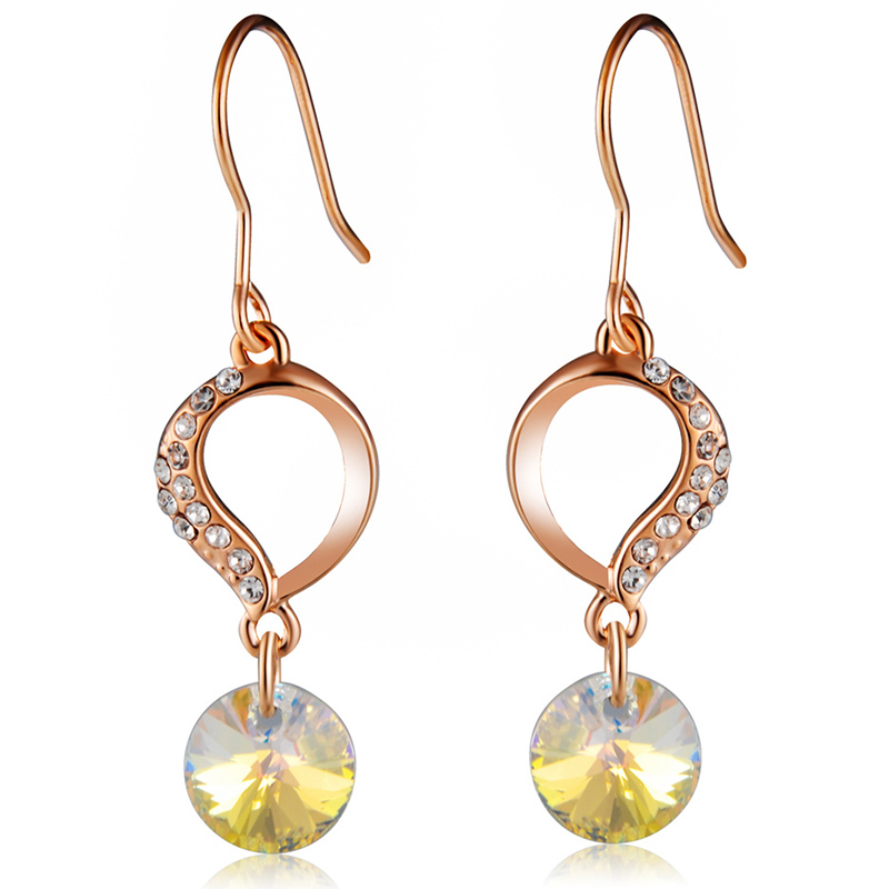 Fashional Rose Gold Zircon Pendant Crystal Inlaid Dangle Earrings Sale Price Reviews Gearbest