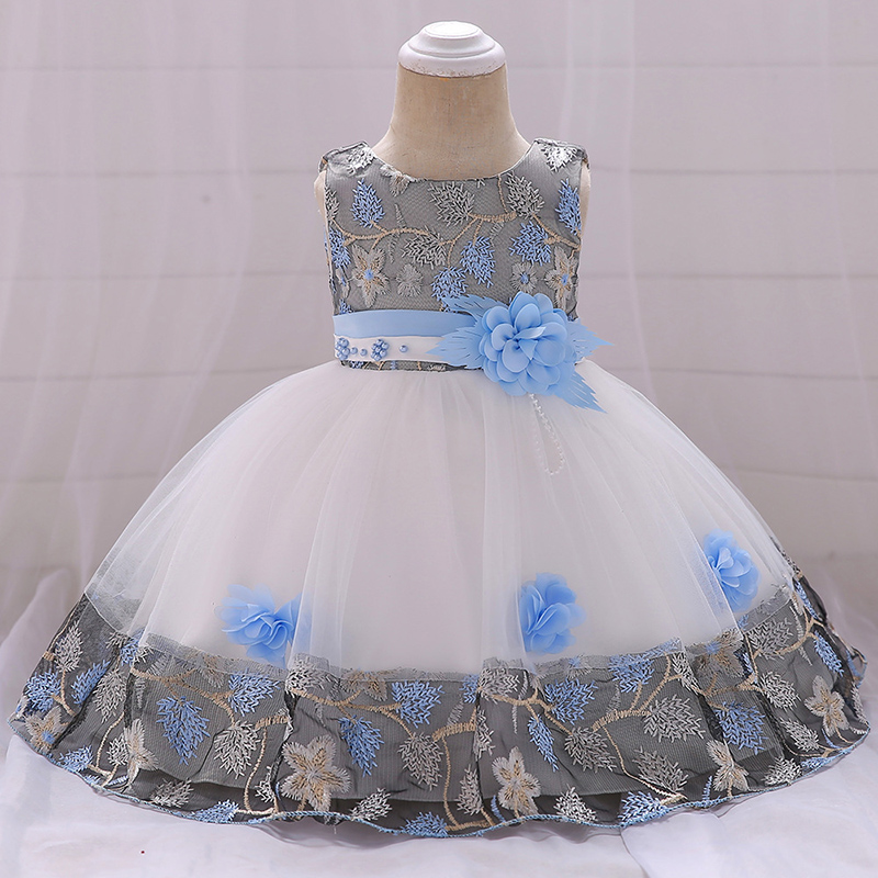 Toddler Baby Kids Girls Floral Embroidery Princess Dress Straw Hat Cap Outfits