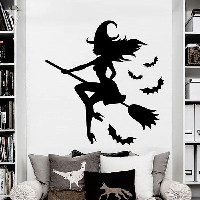 Creative Charcoal Halloween Witch Wall Sticker Sale Price Reviews Gearbest