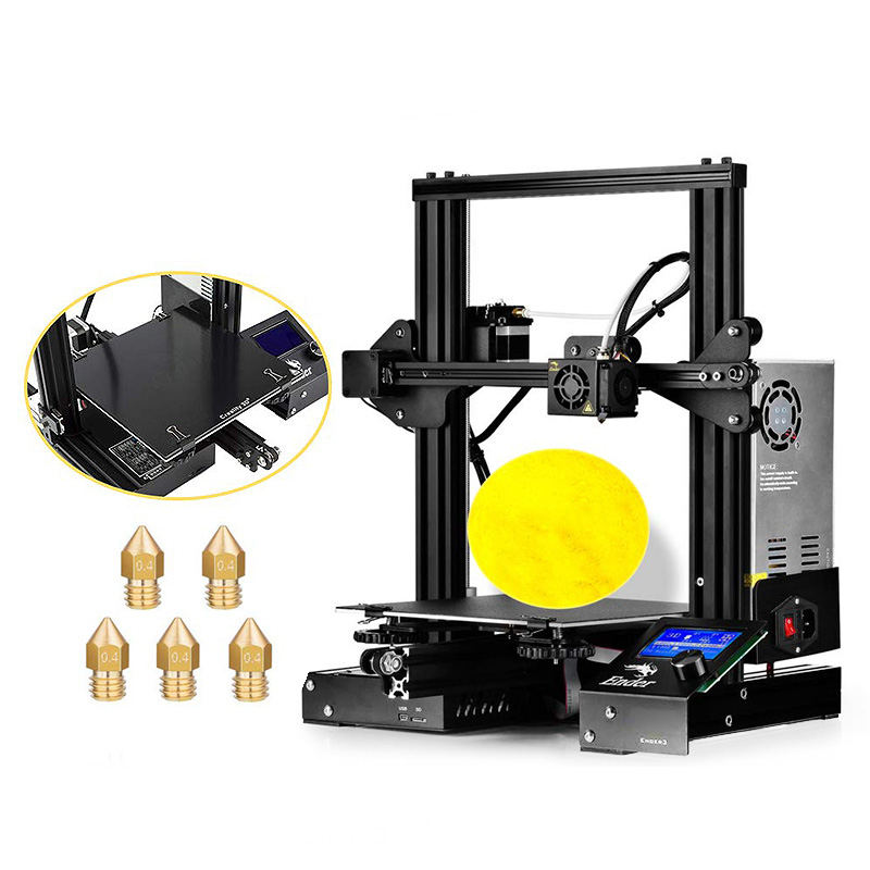 Creality Ender - 3 Black EU Plug / With Glass Bed + 5 x Nozzle 3D Printers, 3D Printer Kits Sale, Price & Reviews | Gearbest