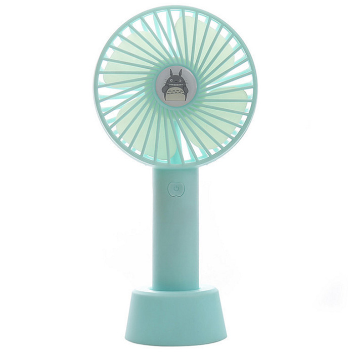 Color : Blue Air Cooler Mini USB Leafless Fan Portable Handheld Small Fan Night Light Outdoor Home Office Air Cooling Fan