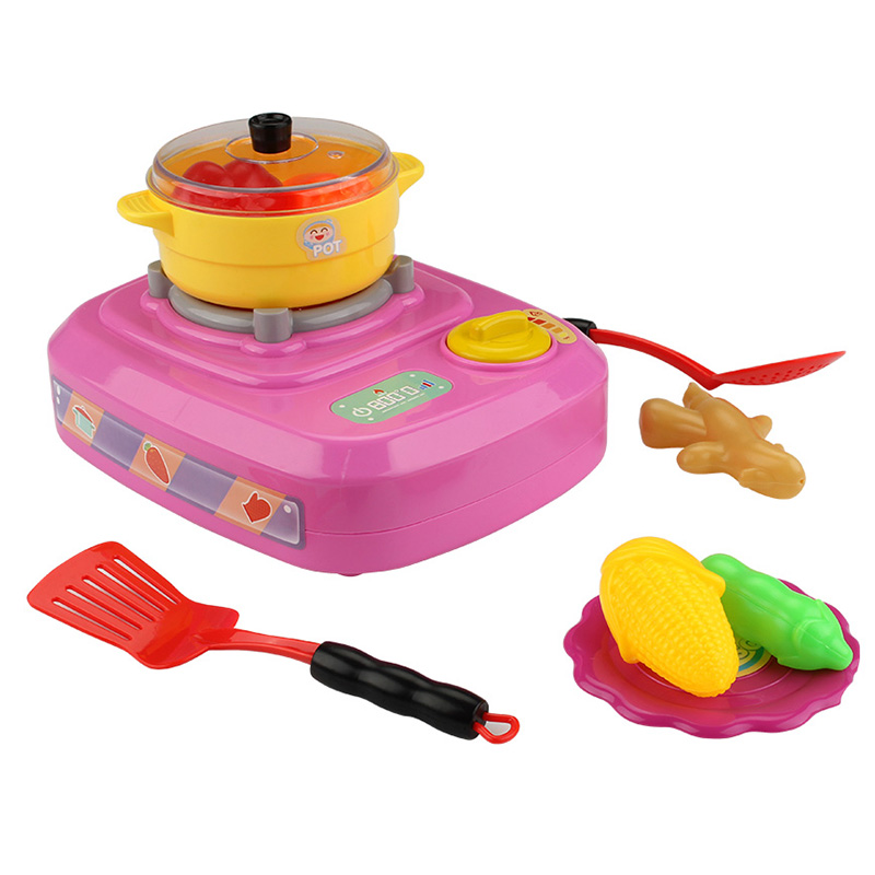 QC - 2B Electric Simulation Gas Stove Pretend Play Toy - PINK
