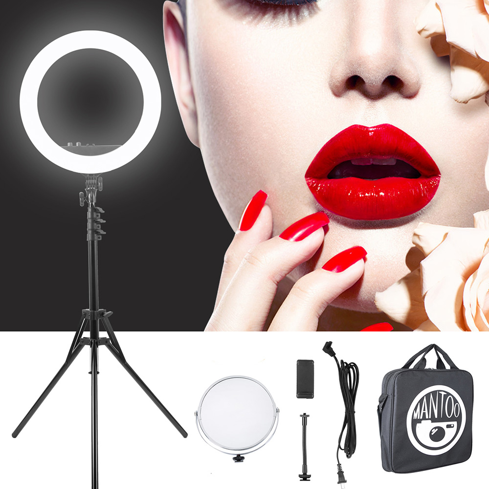 Ring Light Led 18inch Bicolor Dimmable Lighting Kit Table Top Stand Superbright Durable Adjustable Angle for Mobile Phone Selfie Photography Live Broadcast